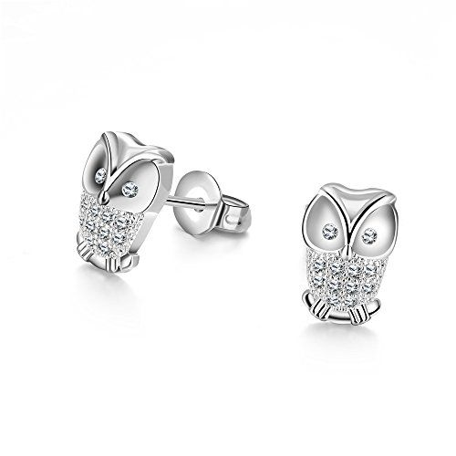 18K White Gold Plated Sterling Silver Earrings Fine Jewelry Weave Star Stud Earring Fm0ogVwSYS