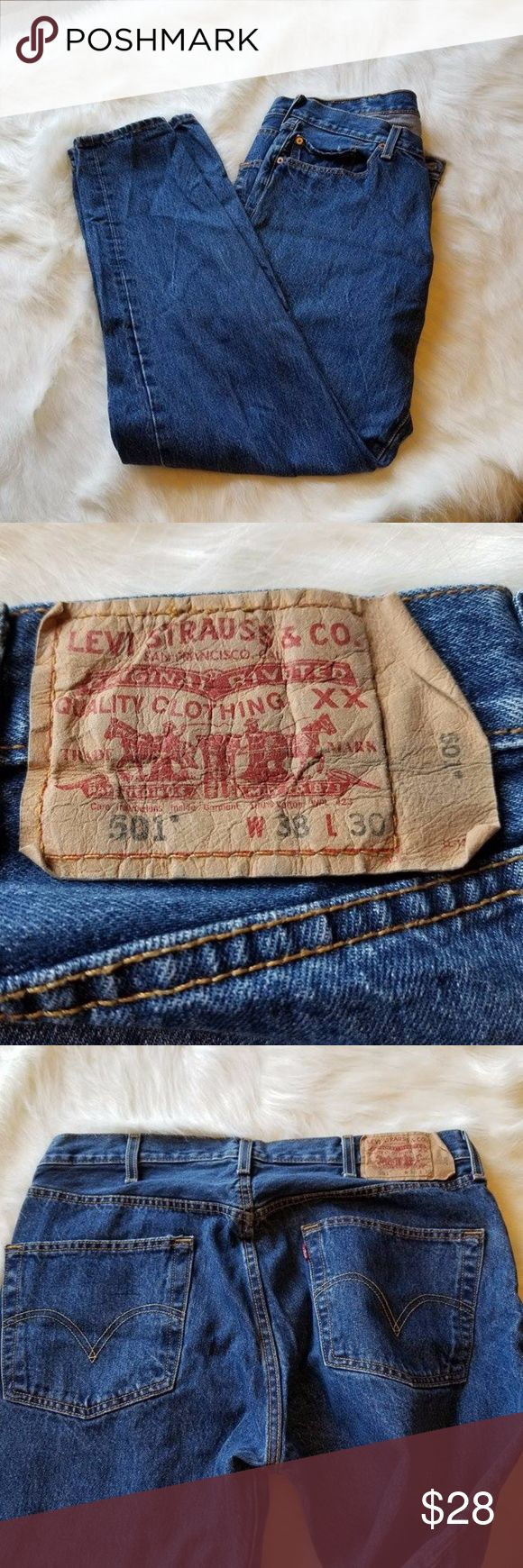 FREE SHIPPING Blue Levi's 501 Straight leg 38x30 2)These mens Levi's are blue with multiple buttons in the front.  They are in great condition!  LIKE NEW.  They are a straight leg cut.  Size- W 38 L 30 ADD TO A BUNDLE FOR FREE SHIPPING  FREE SHIPPING NOT VALID ON OFFERS Levi's Jeans Straight