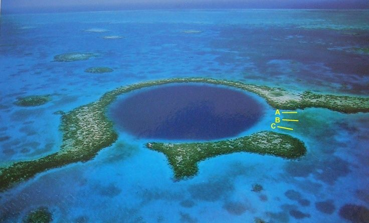 """underwater caves """"blue holes"""" in the Bahamas"""