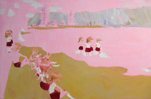 Vivian Girls at Waikiki Beach, 100 cm x 150 cm, Katja Tukiainen 2009