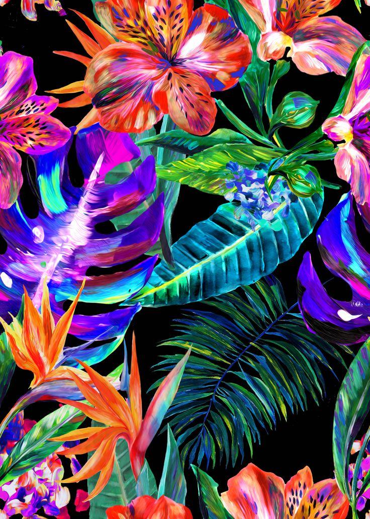 The bountiful hand-painted plants of the black Matthew Williamson Maracas Montage print.