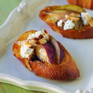 Balsamic Glazed Pear and Goat Cheese Crostini