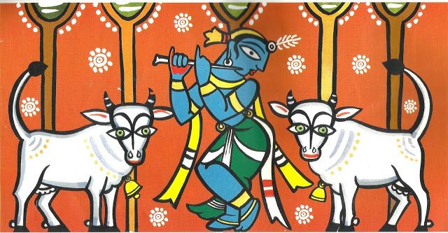 Krishna, celestial cowherd, painted by the incomparable Jamini Roy