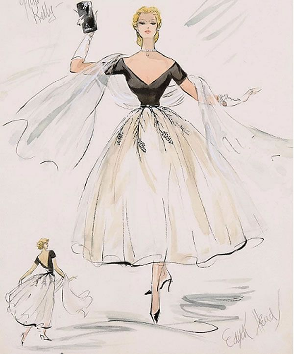Love this! Edith Head sketch for Grace Kelly in Rear Window- My very favorite movie.