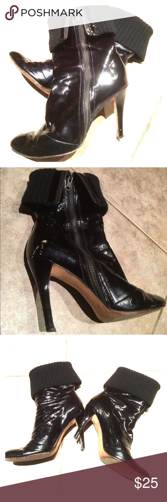 """👠PATENT LEATHER STILETTO BOOTIES Gorgeous Boutique 9 Black Patent Leather Stiletto Cuff Booties, Size 7.5. Approx. 4"""" heel. Leather upper, leather sole, fabric cuff. Can be worn folded down or up. Zipper goes on the outside. There is some wear on the right boot by the top of the heel, as shown in the 2nd picture & tips of heels need to be replaced. Can easily be fixed by a shoemaker. These were purchased at Nordstrom. Amazing boots! Smoke/pet free. Boutique 9 Shoes Ankle Boots & Booties"""
