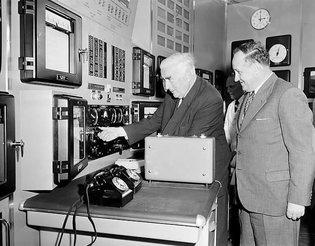 Prime Minister Menzies launches Australia's first nuclear reactor, 1958