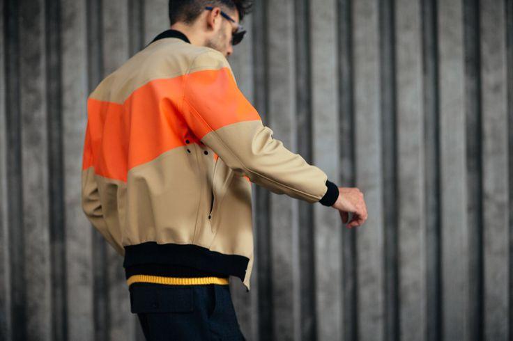 Stutterheim Vastertorp Orange/Tan Bomber Jacket