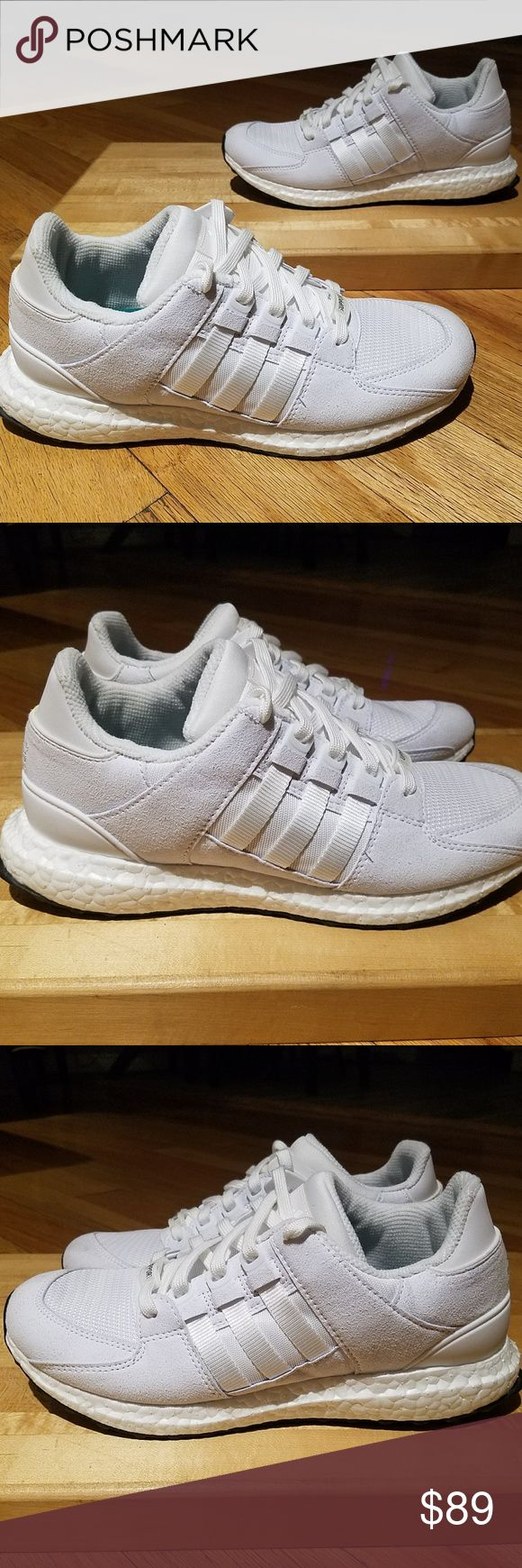 Adidas SUPPORT EQT 93/16 BOOST Shoes sz 8.5 - 0218 THE SHOES WERE A REUTRN. No Box, Few Signs of being tried on and moved around. Otherwise, New Condition, Clean Shoe.   Adidas SUPPORT EQT 93/16 BOOST Running Shoes, White White Silver  Mens Size 8.5   Please inspect all pics!   Thank you! adidas Shoes Athletic Shoes