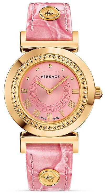 Versace Vanity Watch, 35mm - The Versace Vanity features an ion-plated rose gold case with a subtle studded bezel surrounding a bright pink sunray dial detailed with a classic Greek key. A pink crocodile embossed calf leather strap with signature Medusa head accents adds a fun modern touch to classic luxury.
