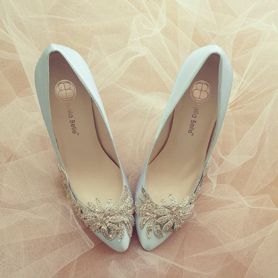 Something Blue Vine Crystal Applique Silver Beading Embellished Satin Bridal Wedding Shoes, Bella Belle DAWN