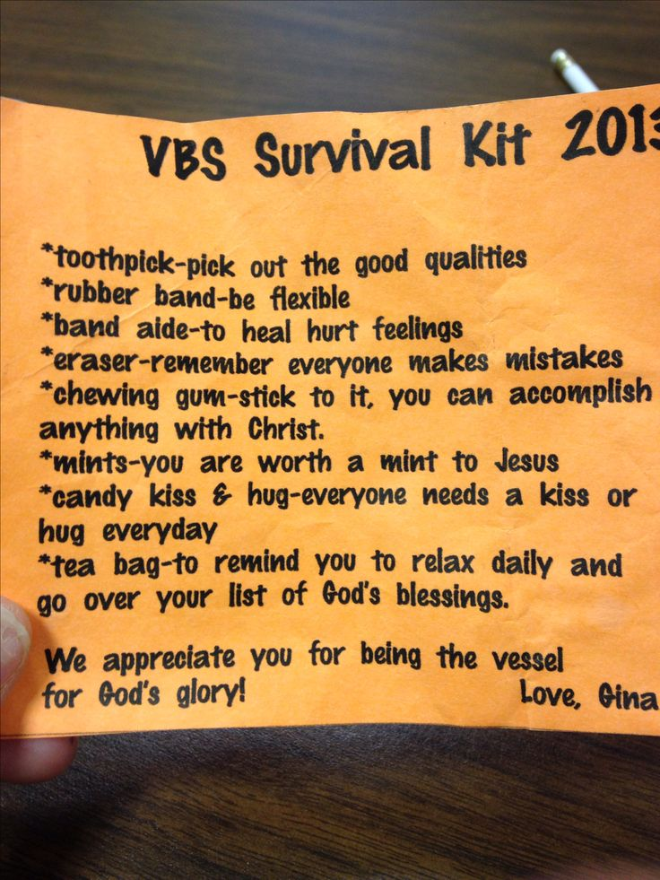 Vbs teacher survival kit