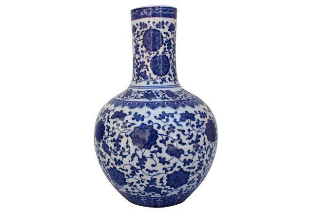 Blue &  White  Porcelain  Asian   Vase