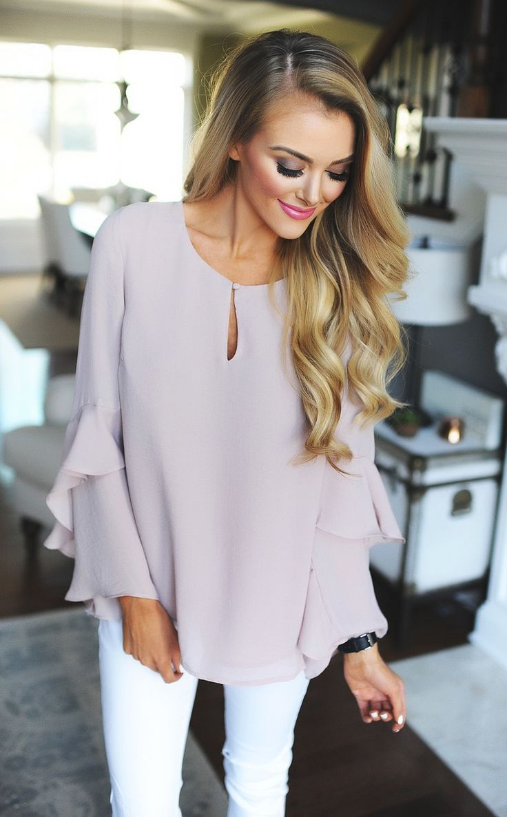 Mauve Ruffle Sleeve Blouse - Dottie Couture Boutique