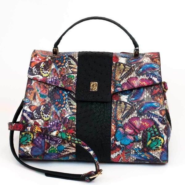 Dama in python leather with printed butterflies ($2,000) ❤ liked on Polyvore featuring bags, handbags, python handbags, genuine leather bag, snake print handbags, butterfly bags and 100 leather handbags
