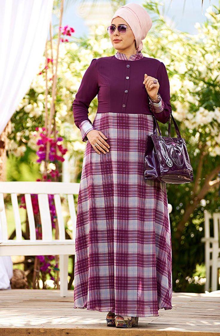 Nesrin Emniyetli Simetrik Şifon Elbise 2160099 Mürdüm | Uyum Moda