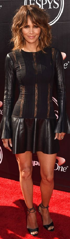 Halle Berry in a black dress and Brian Atwood shoes at the 2015 ESPY Awards