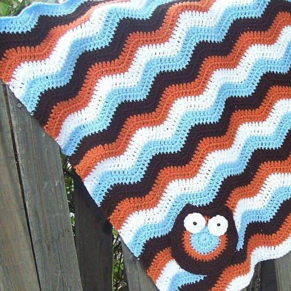 Cute Boy Colors Owl Baby Ripple Blanket Turquoise Brown