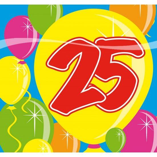 25 jaar servetten met op de achtergrond gekleurde ballonnen. Deze 25 jaar servetten hebben een afmeting van 25 x 25 cm. Meer 25 jaar versiering kunt u bij ons in de winkel vinden. Inhoud: 20 stuks.
