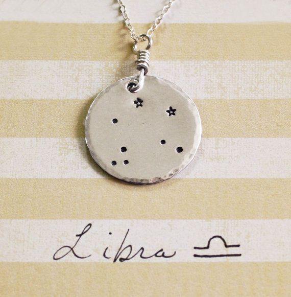 Libra constellation necklace sterling silver libra by ZennedOut, $49.50