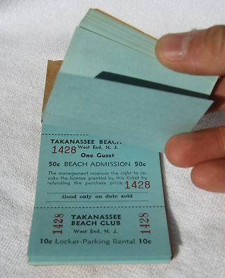 Antique Takanassee Beach Club Badges Tickets West End Long Branch New Jersey NJ | eBay
