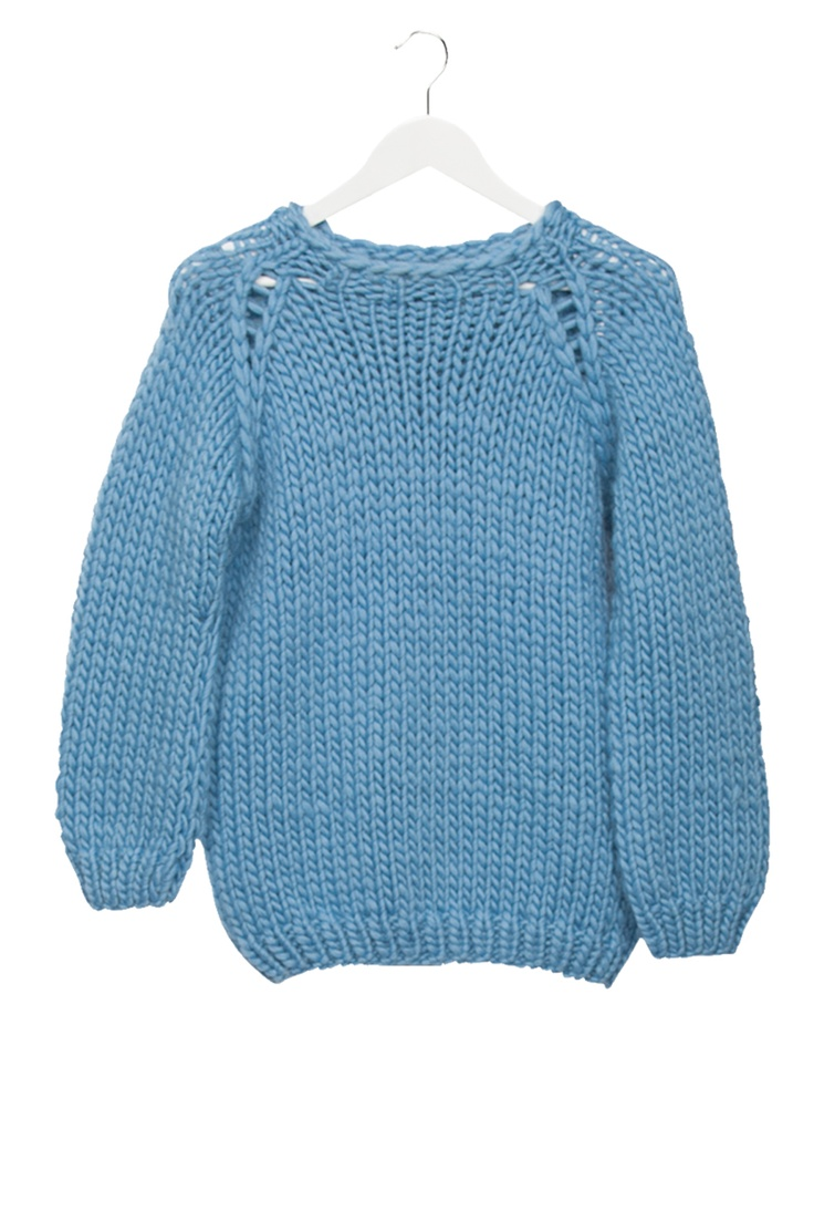 maiami thick knit sweater soft blue