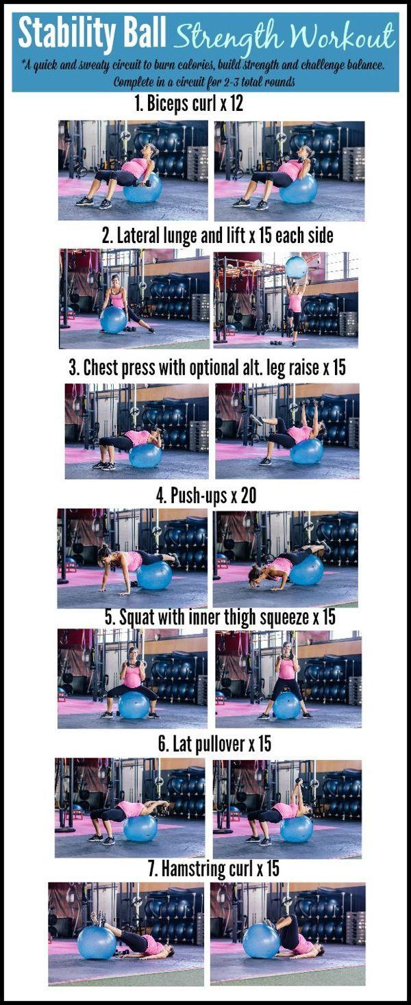 Stability ball strength workout Hellooooo. Howu20…