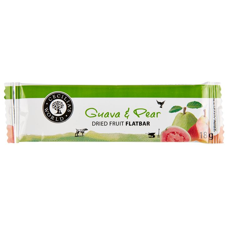 This product combines dried guava from the Western Cape and dried pears from our own valley and blends them with water and sugar until it forms a smooth fruit blend which is then spread onto a large tray and dried slowly in an oven until they are perfectly soft and chewy and delectable! http://ceciliasfarm.co.za/product/guava-pear-flatbar/