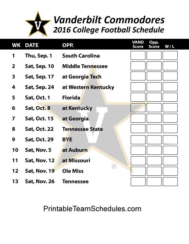 Vanderbilt Commodores Football Schedule 2016. Printable Schedule Here - http://printableteamschedules.com/collegefootball/vanderbiltcommodores.php
