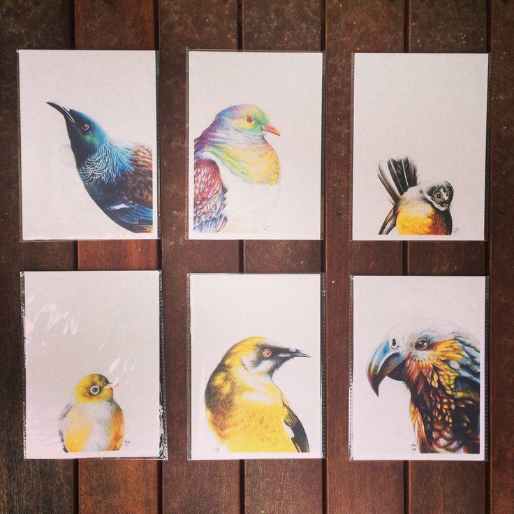 New Zealand Native bird prints. The Tui, kereru, fantail, wax eye, bellbird and kaka. www.hannahstarnesart.co.nz