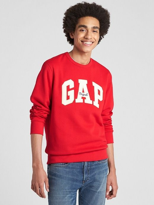 Gap Pullover Logo Fleece Mens Sweatshirt Pure Red Crewneck vTIqvxr