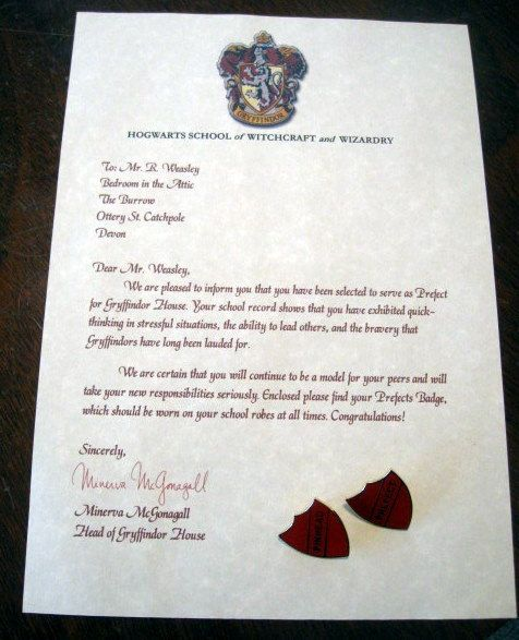 Prefect letter with both quotprefectquot quotpinheadquot badges for Harry potter personalized letter
