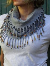Recycled T-Shirt Scarf with beads -smb: this would be cute as fringe on socks, a purse, capris, a shirt or a jacket.: