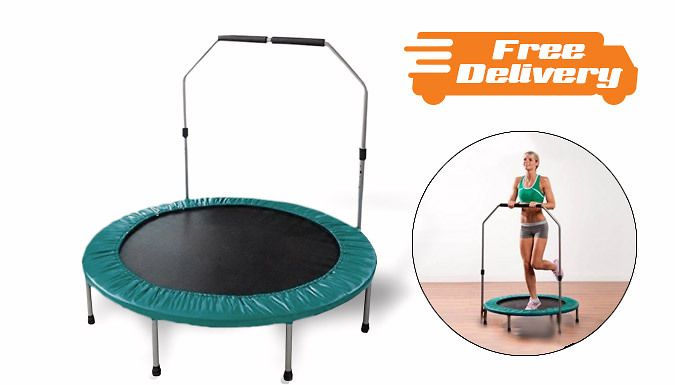 39in Folding Trampoline with Removable Handrail - Free Delivery! Jump like a pro on the 39in Folding Trampoline      Great for low-impact aerobic workouts from the comfort of home      Features a removable handrail      High-quality polypropylene jumping surface and vinyl safety covering      Brilliant way to stay in shape and improve fitness levels      Sturdy 8-leg steel base frame...