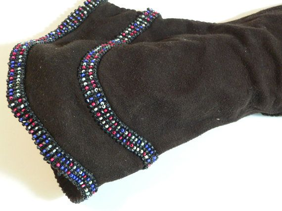 1940's Dark Brown Suede Gauntlet Gloves w Beading by AVIVB on Etsy