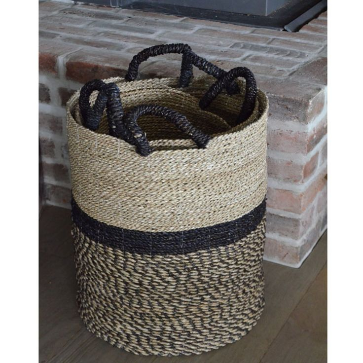 Panière Basket, Round, Seagrass, Nature / Black Ø 41 x h 47 cm Basket, Round, Seagrass, Nature / Black Ø 41 x h 47 cm