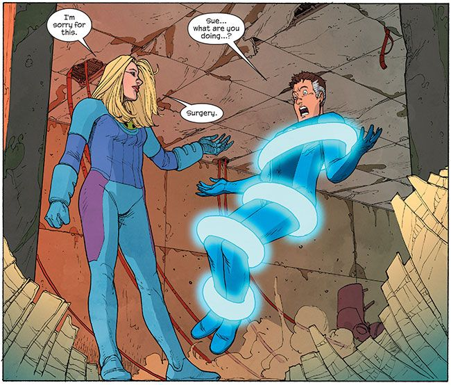 Fantastic Four's Invisible Woman rapes Mister Fantastic!?  Susan Storm AKA the Invisible Woman is desperate to have a baby but it's not her biological clock ticking; it's a doomsday clock. The fate of the Ultimate universe depends on Susan Storm and Reed Richards AKA Mister Fantastic having a child named Franklin Richards, an Omega-Level mutant with godlike powers. Just one problem. She despises him.  #comics…