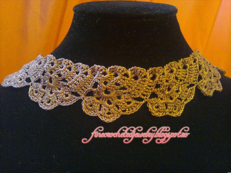 Crochet lace necklace www.finecrochetedjewelry.blogspot.ro