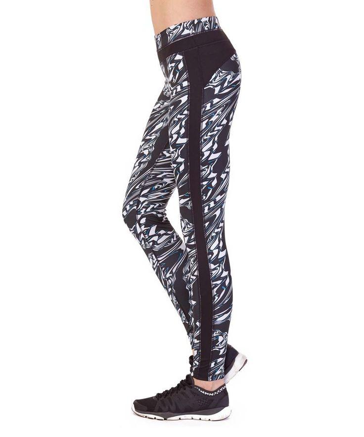 Black Sapphire & Black Abstract Side-Stripe Performance Leggings