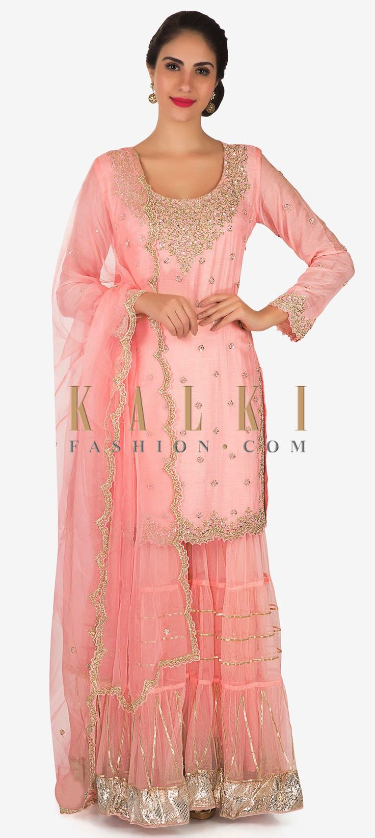 Buy Online from the link below. We ship worldwide Click Anywhere to Tag Light pink straight suit with palazzo pant in cut dana and french knot embroidery only on Kalki  Light pink straight suit featuring in cotton silk. Neckline is embellished in cut dana, moti and french knot embroidery. Matched with net palazzo pant with gotta lace. Dupatta is in tissue net. Slight variation in color is possible.
