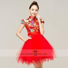 Ball Gown Collar Short/Mini Satin and Tulle Asymmetrical Cheong Sam