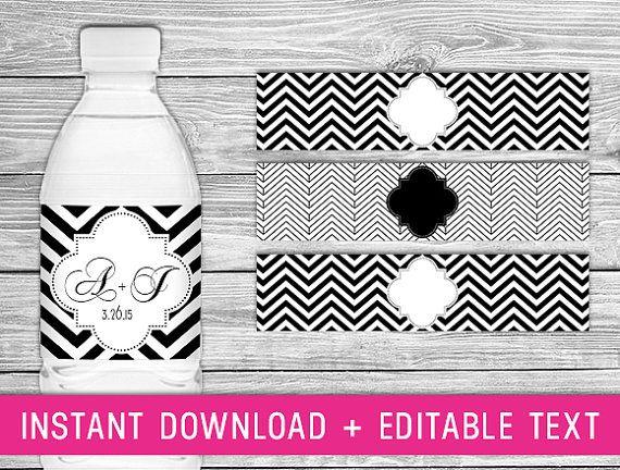Printable Water Bottle Labels - Black (black chevron wedding, chevron party decorations, black white wedding, chevron bridal shower) on Etsy, $5.63 CAD