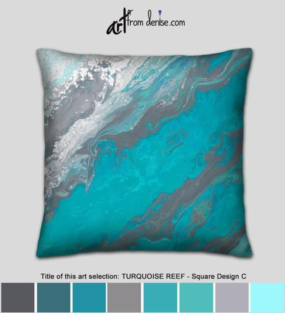 Large Couch Pillows Set Or Gray And Turquoise Decorative Pillow