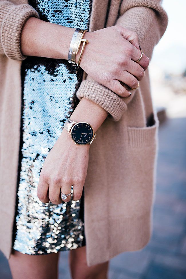 Cluse La Boheme Watch, Cartier Love Bracelets, Vince Cardigan and Silver and Purple Sequin dress