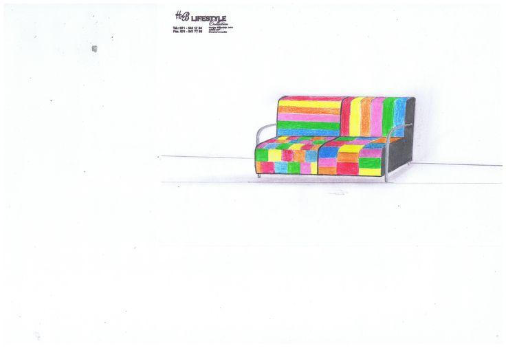Tekening naar wens gemaakt van onze klant Voor liefhebbers van kleur :) Stel uw eigen bank samen!