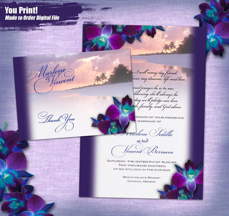 A personal favorite from my Etsy shop https://www.etsy.com/listing/530037386/purple-orchid-beach-wedding-invitation