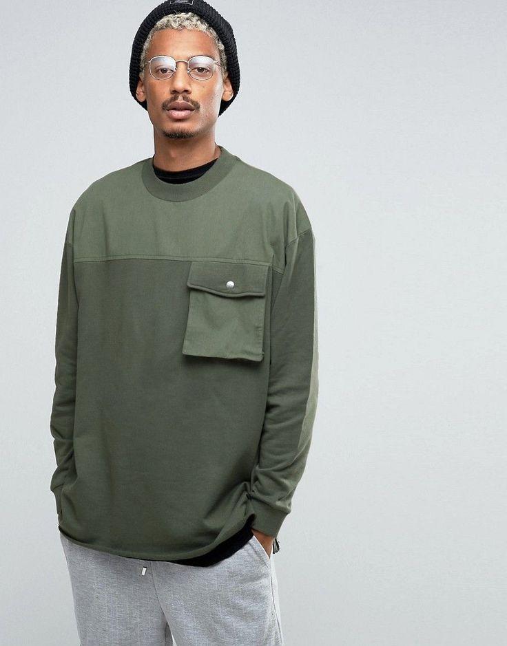 Image 1 of ASOS Oversized Longline Sweatshirt With Woven Yoke Pocket & Taping Detail