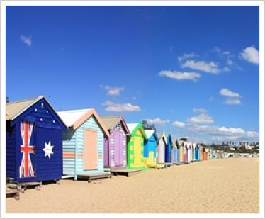 Melbourne, Australia, has iconic bathing boxes on Brighton beach.