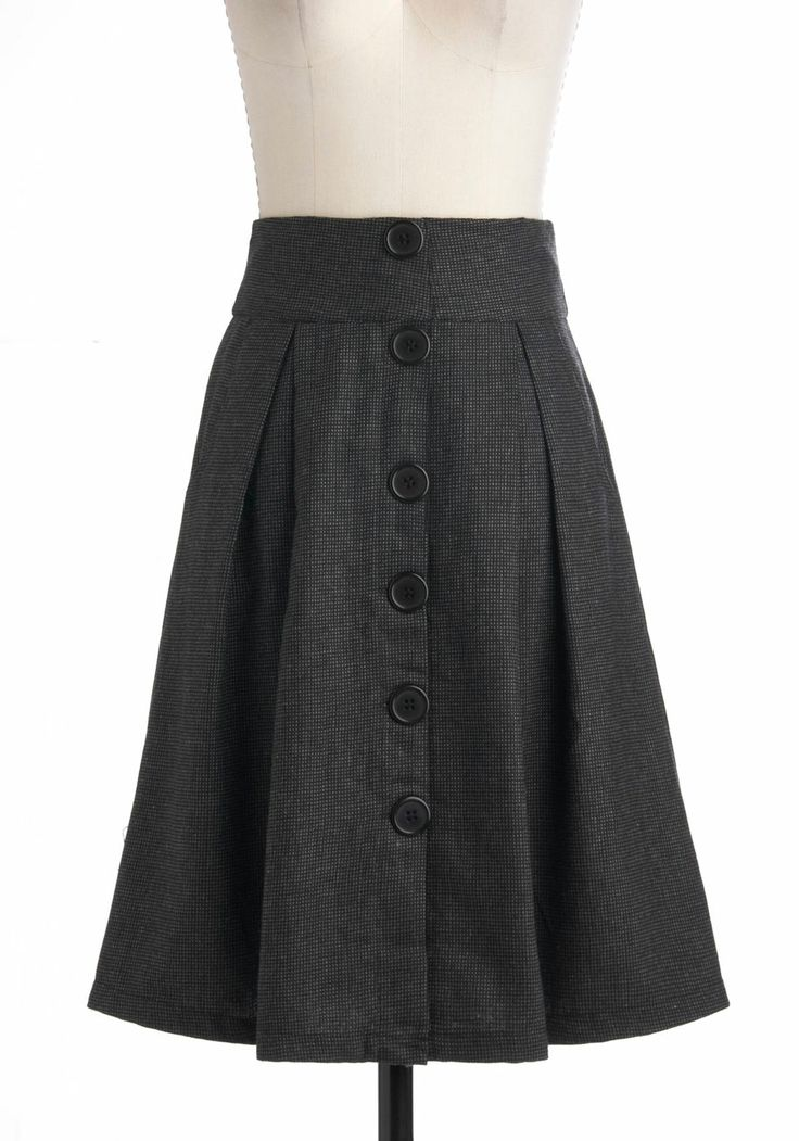 A-Line skirt on a flat yoke is a great way to wear a skirt without it adding bulk to your petite Apple Plus Sized frame. Vertical detail like buttons, piping or vertical stripes trick the eye into seeing you slimmer.