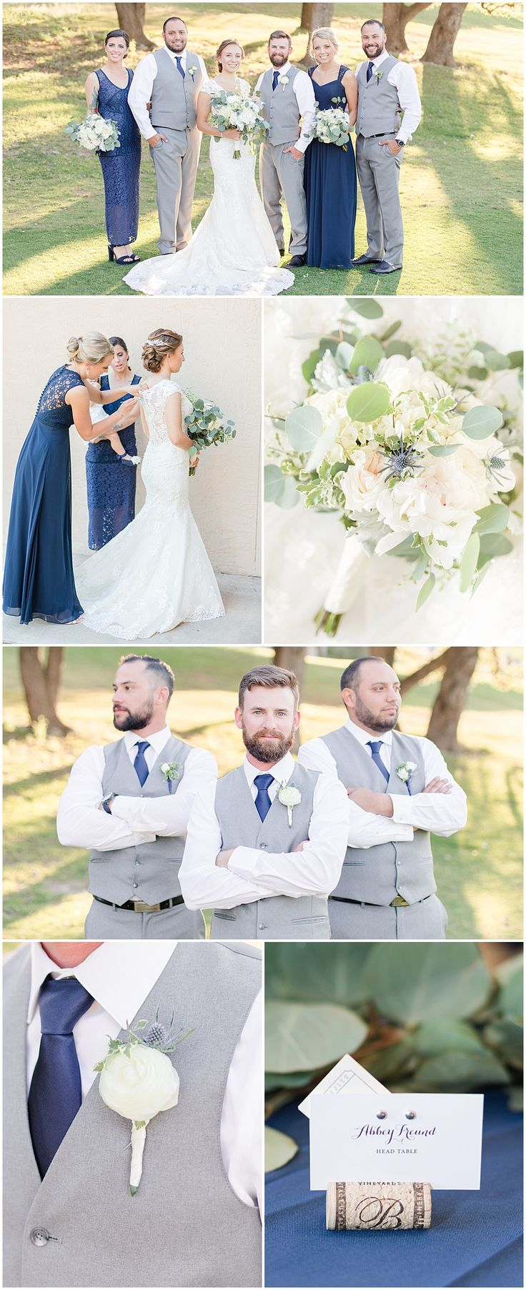 NAVY + GREY WEDDING INSPIRATION | White and Navy Bouquet | Navy Bridesmaids Dresses | Grey The Mrs Box | Navy Silk Ribbon | Grey Groomsmen Suits | Navy and Grey Wedding at Tapatio Springs Resort in Boerne Texas by Allison Jeffers Wedding Photography 0134