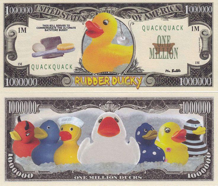 Two Rubber Ducky Quack Quack One Million Dollar Bills # 319  | eBay